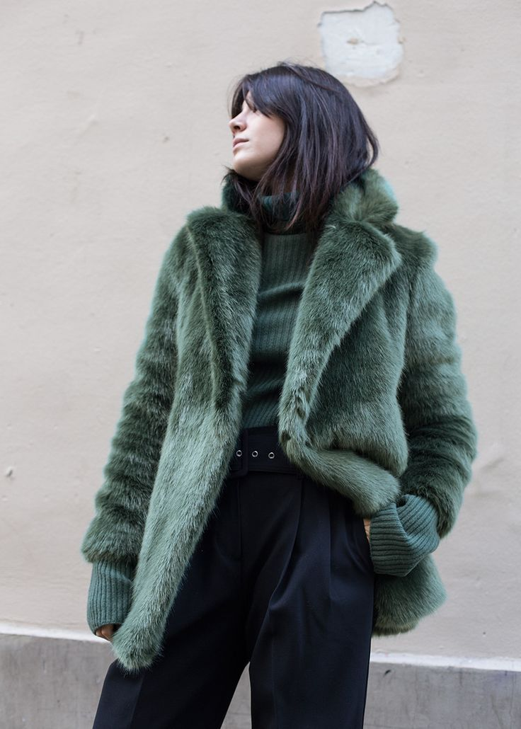 """Soft Faux Fur, Hook Closure, 2 Front Pockets 85% PC, 15% PL 32"""" Length, 17"""" Shoulder Width Dry Clean By D.Efect. Made in Lithuania"""
