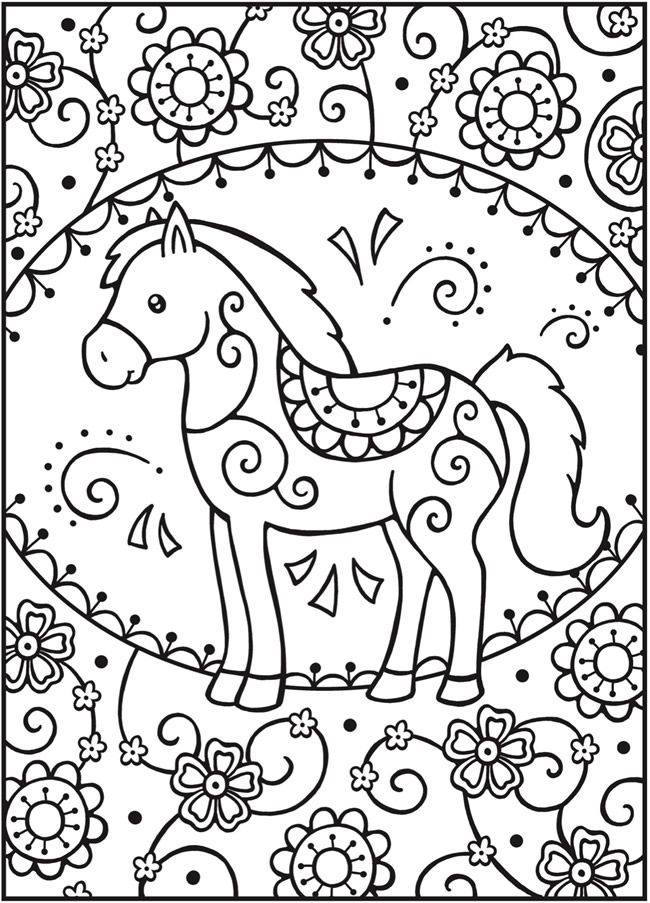welcome to dover publications free sample join fb grown up coloring group horse coloring pageskids - Free Printable Coloring Sheets For Kids