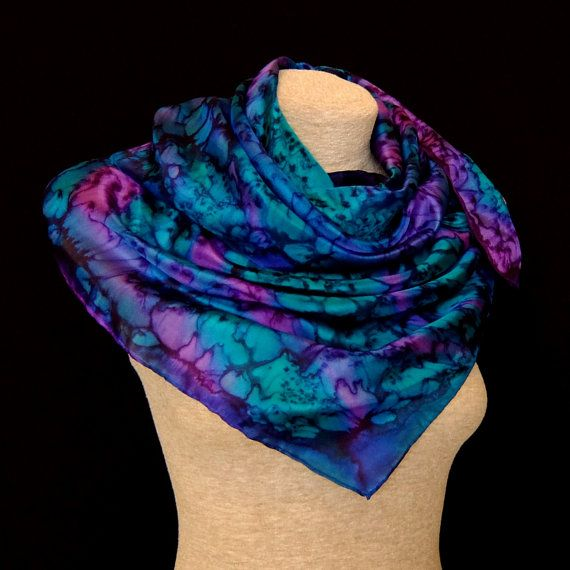 Silk scarf shawl  Emerald sea - turquoise blue, emerald green, purple violet -  FREE SHIPPING