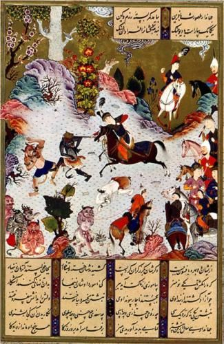 Tahmuras Defeats the Devas. Miniature from Shahname - Sultan Muhammad