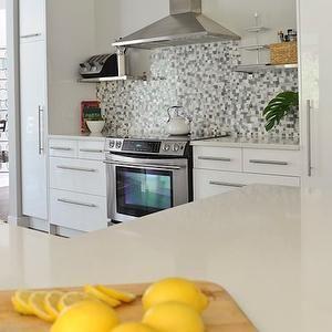 Charming Andrea Johnson Design   Kitchens   Gray, Blue, Mosaic, Tiles, Backsplash,. Yellow  Kitchen AccentsYellow ...