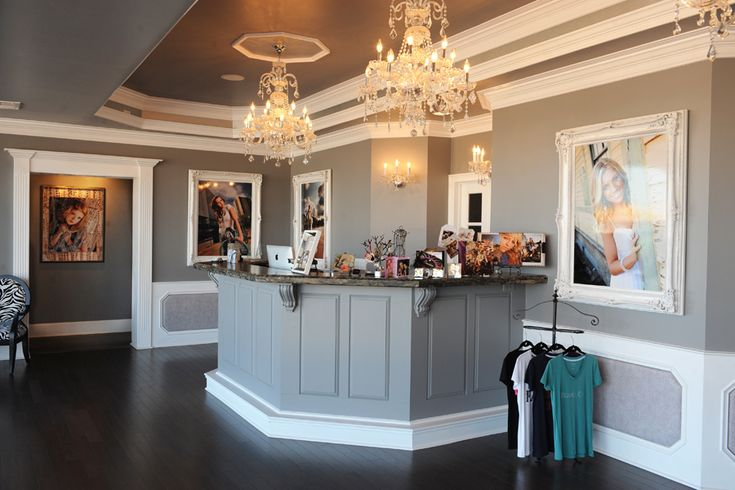 Salon inspiration. I like the grey color...with black and white