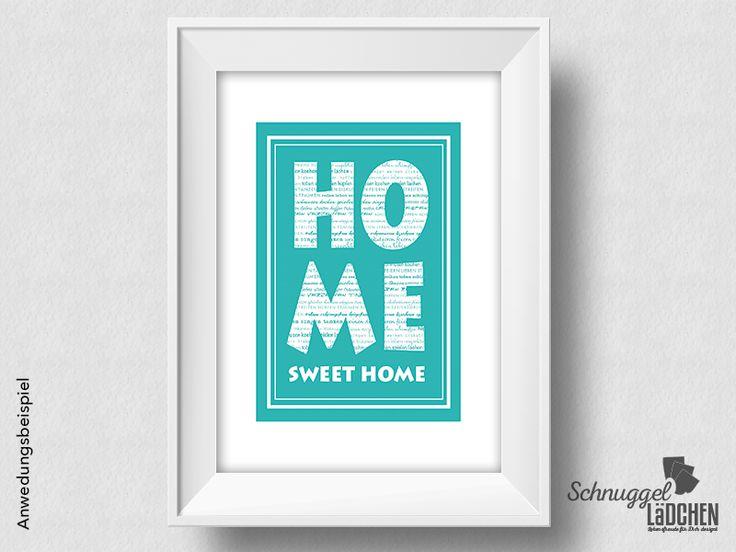 Kunstdruck – Home Sweet Home türkis – von Schnuggellaedchen auf DaWanda.com