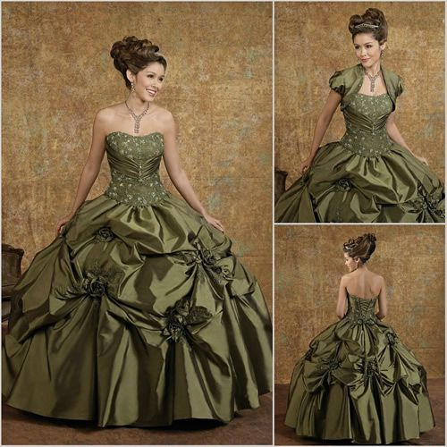 Victorian Ball Gowns For Sale | ... Green Strapless Victorian Fashion Evening Ball Gown Bolero Custom