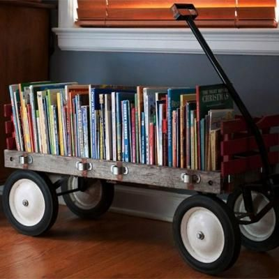 oh, my.  i loooooove this.  how cute would this be in a little boys room???  (Now, granted it would NEVER look like that if it were in a boys room, but still!!  So cute!!!): Ideas, Bookshelves, Book Storage, Playroom, Children, Old Wagons, Boy Room, Kids Rooms