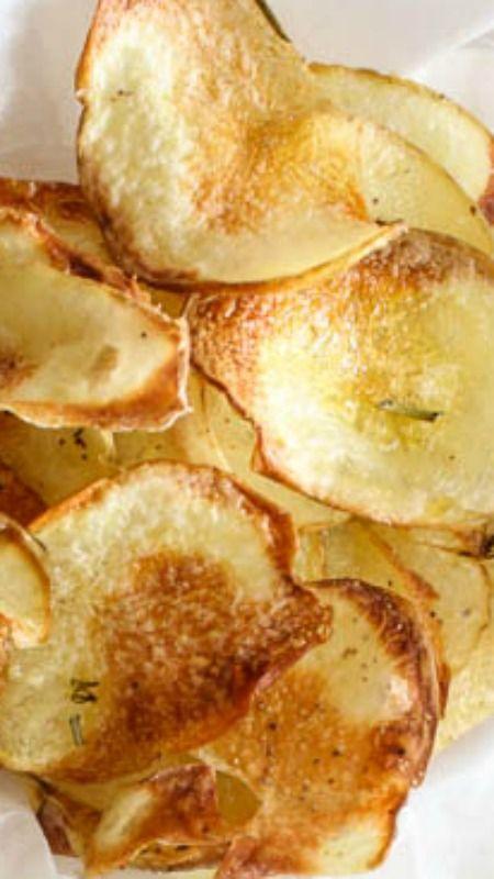 A Taste of Italian Baked Potato chips ~ an easy crispy homemade oven baked potato chip recipe.