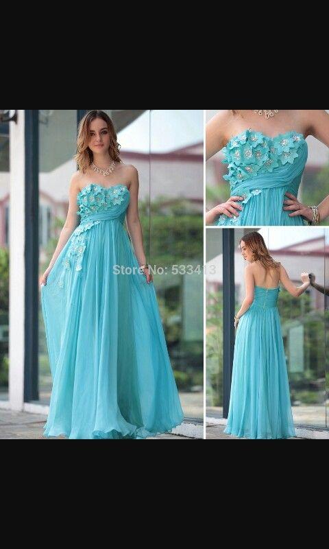 Blauwe bloemen jurk
