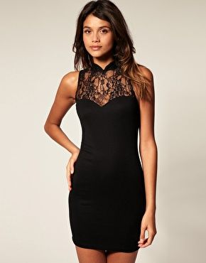 ASOS Dress with High Neck Lace  	                        	          	          		        	  		        £35.00