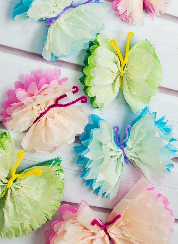 Basteln mit Seidenpapier Kinder Deko Schmetterlinge