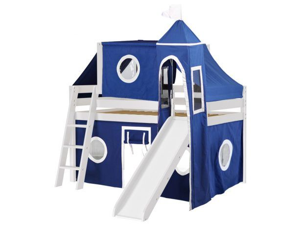 transitional stained solid wood jackpot castle low loft white bed with slide blue and white tent - Transitional Castle 2016