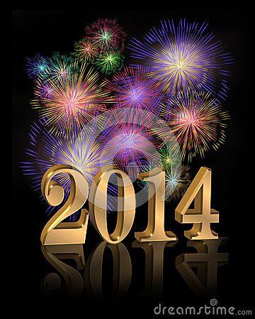 New Year 2014 digital fireworks by Edward  Vetter, via Dreamstime