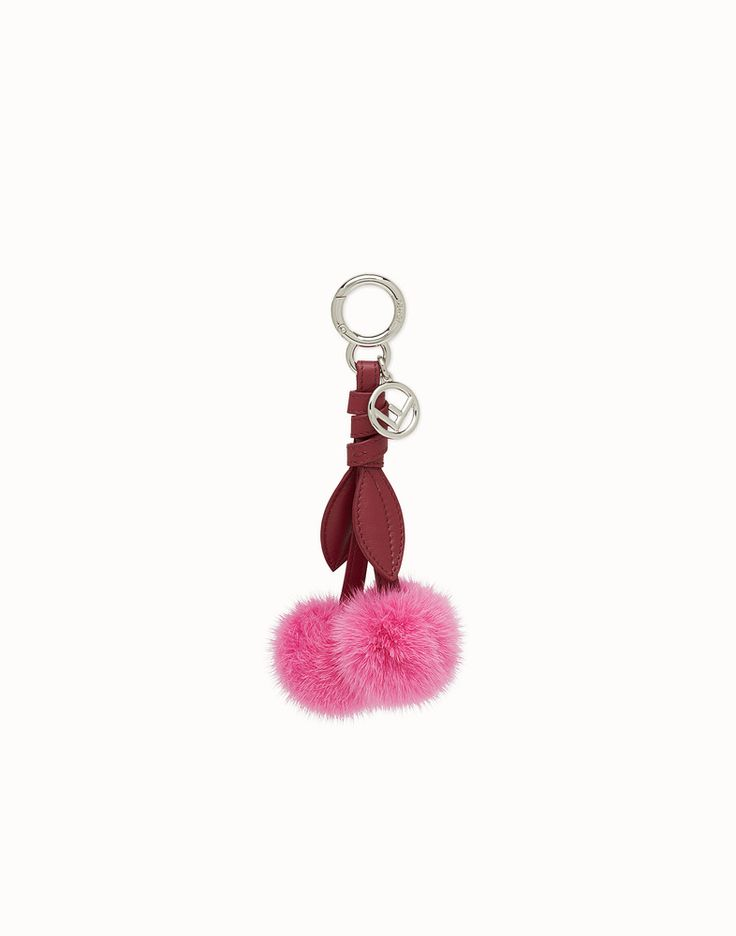 FENDI CHERRY CHARM - Charm in pink mink fur - view 1 detail
