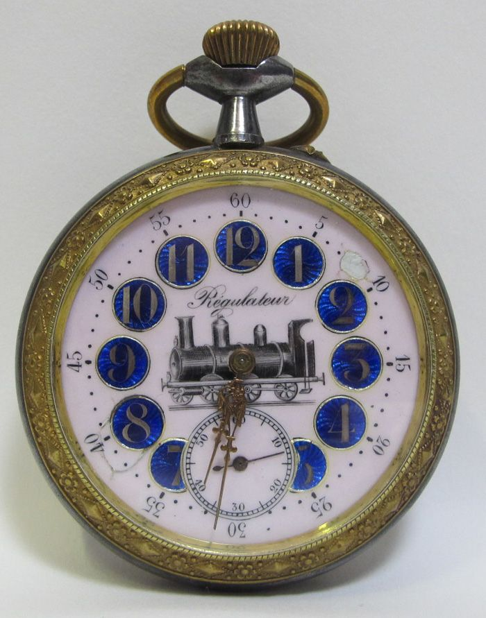 Antique Railroad Pocket Watches | Antique Goliath Pocket Watch Regulateur Locomotive Railroad Porcelain ...