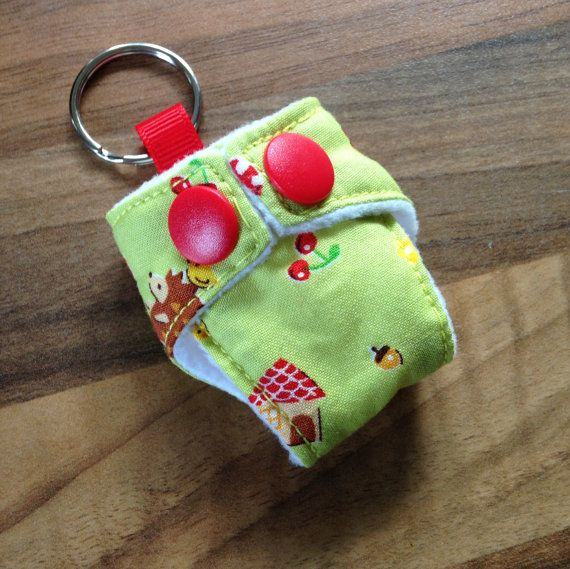 Cloth Nappy Diaper Mini Keychain Keyring Japanese Cosmo Textile Hedgehogs Squirrels