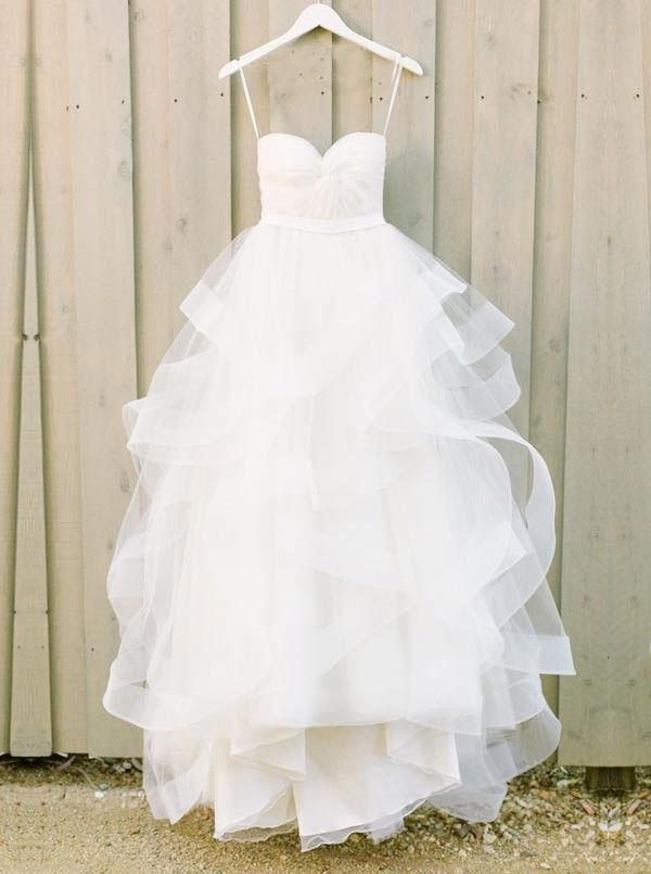Modern Sweetheart Ruffles Wedding Dress,Tulle A-line Wedding Dress Bride Gowns,HF45  - Thumbnail 1