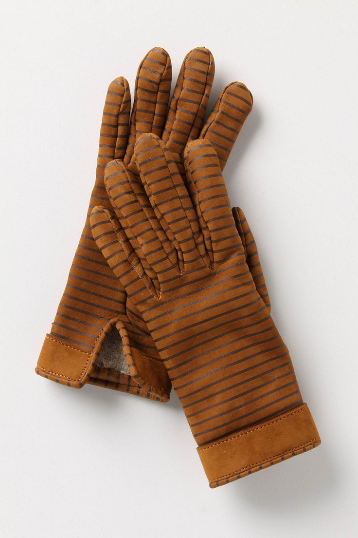 Gaspar leather driving gloves - Striped Leather Gloves