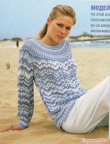 Пестрый пуловер с круглой кокеткой. - Вязание - Страна Мам