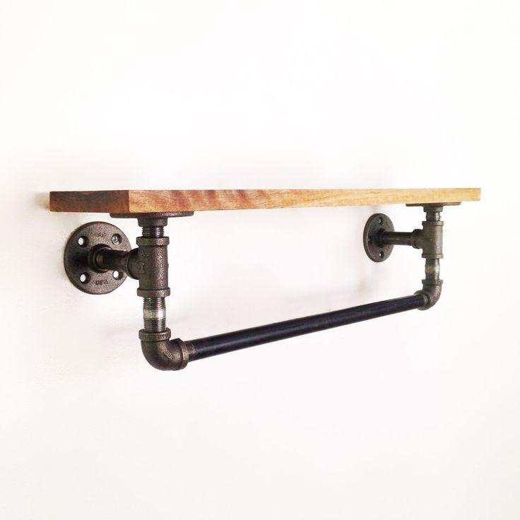 Dot & Bo: Industrial shelf/towel bar. Easily DIY'd with plumbing pipe and reclaimed wood!