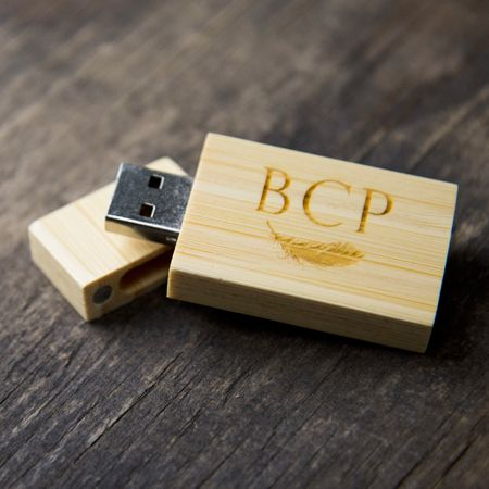 Light Bamboo Flash Drive. Engraving Available.