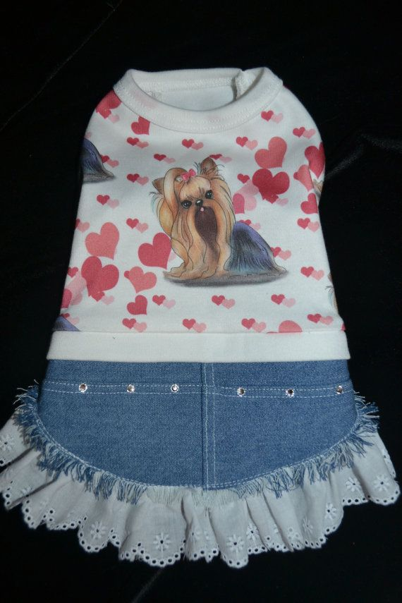 Hey, I found this really awesome Etsy listing at https://www.etsy.com/listing/188295036/yorkie-denim-dress