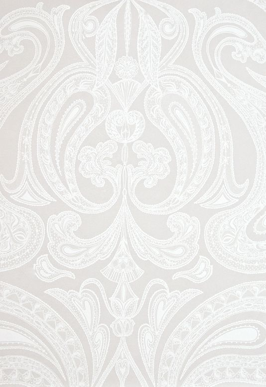 Malabar Wallpaper Light taupe wallpaper with large white Paisley design in white. Potential master bedroom and en suite