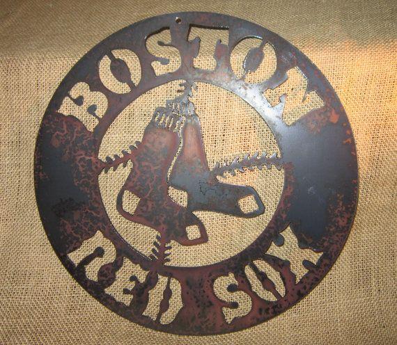 Boston Red Sox Metal Art by steelmyart on Etsy, $25.00
