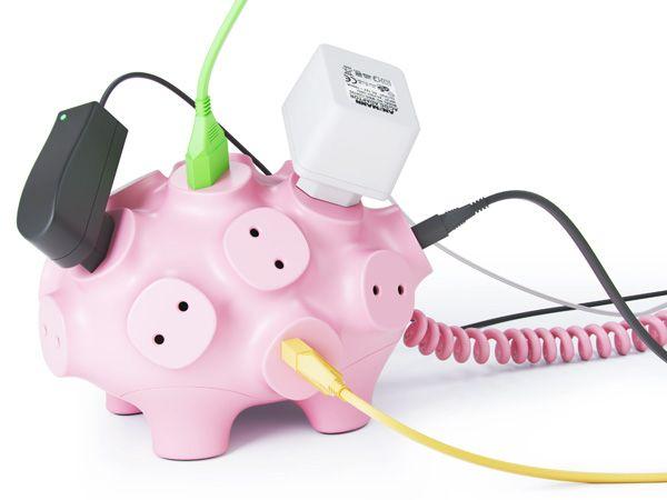 love this piggy plug: Piggy Plug, Piggy Bank, Idea, Power Strips, Products, Art Lebedev