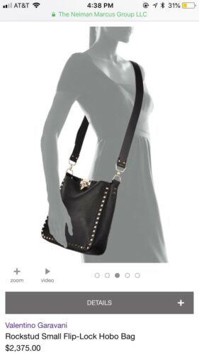 Valentino Rockstud Vitello Small Flip-Lock Hobo Bag - Navy Blue Crossbody  Purse b7ac02dd96c0a