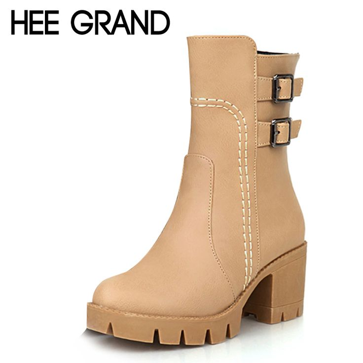 >>>Low PriceHEE GRAND Platform Mid-Calf Boots Ladies Autumn Women Boots  Buckle Casual Low Heels Shoes Woman 3 Colors Plus Size 35-43 XWX3721HEE  GRAND ...
