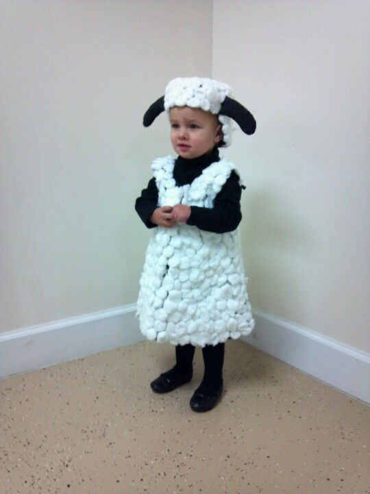 Sheep costume for Christmas play- glued cotton balls to a simple black sundress!