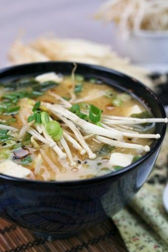 Miso Soup. Made by the Healthy Foodie blog. She uses some standard ingredients and some decent twists to it by adding in rice vermicelli, bean sprouts and dried wakame in wtih standard ingredients such as miso, tofu, enoki mushrooms and green onions. Pin should lead you to recipe but if not: http://thehealthyfoodie.net/2012/01/29/miso-soup/#  Now it can!