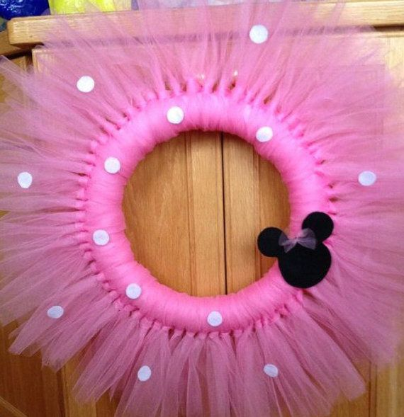 12 Minnie Mouse or Mickey Mouse tulle wreath. The perfect addition to the special party of kids room decor.