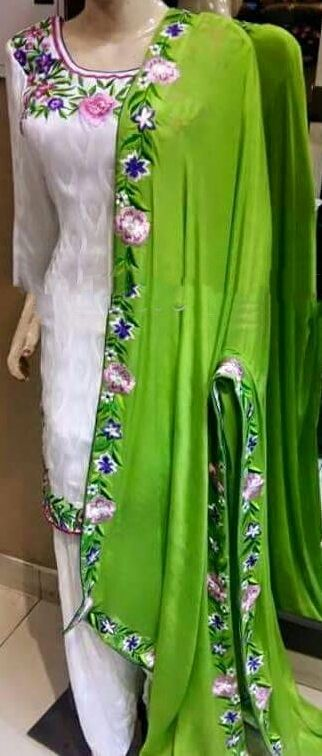Pure Creap Silk Suit in White and Green Color,With Chinon Chiffon Dupatta Punjabi suit, Get this beautifull suit made @nievtas whatsapp +917696747289 visit us at https://www.facebook.com/punjabisboutique world wide delivery #punjabisalwarSuit #Suit #PunjabiSuit #PatialaSuitsBoutique #boutiquesInPunjab