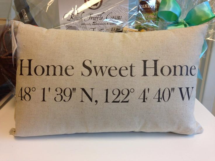 A great housewarming or client closing gift idea!!! A pillow with the coordinates of their new home :) #realestate #client #gift #fall #ideas #housewarming