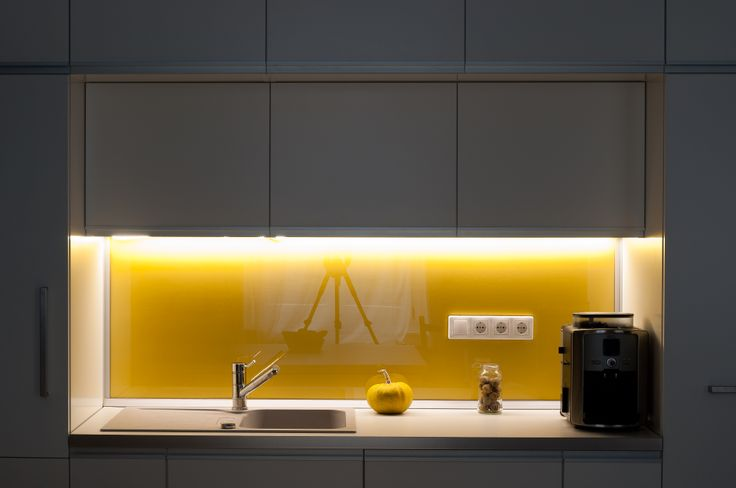 kitchen by night - LED lighting above kitchen counter