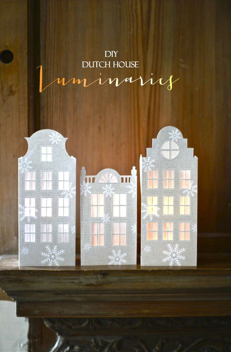 Holiday/Winter Paper Crafts: DIY Dutch House Luminaries; tutorial and printable templates