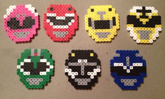 Power Rangers, Perler Beads, Mighty Morphin, Pink Ranger, Yellow Ranger, Red Ranger, Green Ranger,Blue Ranger, Black Ranger, Geekery, magnet...