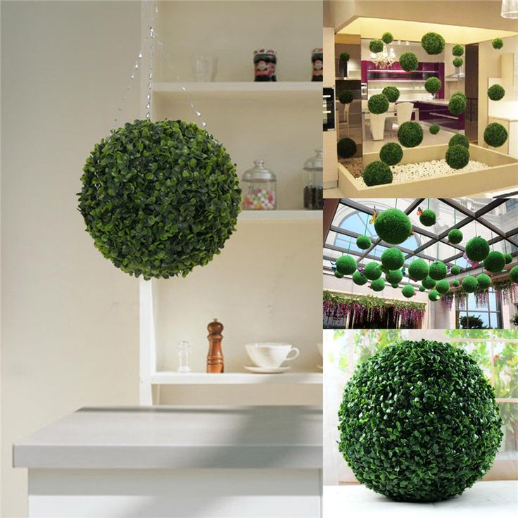 Modern Plastic Topiary 28cm Artificial Leaf Effect Ball Boxwood Grass Ball  Indoor Outdoor Hanging Decoration