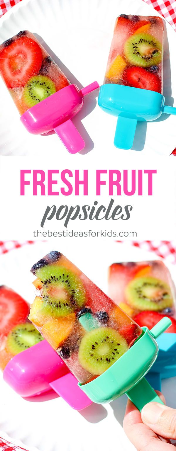 This homemade fresh fruit popsicle recipe is so easy to make a perfect summer treat! Fruit popsicles | Fruit ice pops | Real fruit popsicles | healthy fruit popsicles | frozen fruit popsicles | fruit juice popsicles | healthy fruit popsicle recipe | flavor ice pops | ice pop recipes | whole fruit popsicles via @bestideaskids