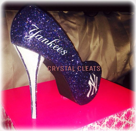 Brand New Custom made YANKEES Baseball inspired high heel shoes! Custom made to your choice of color! Comes in a wedge heel stiletto heel open