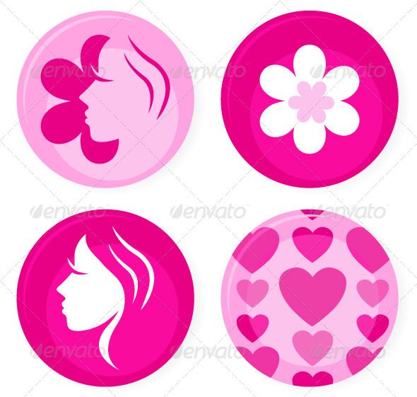 Pink female badges or icons set