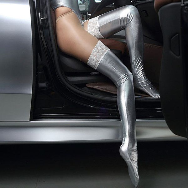Women Patent Leather Sexy Stocking Black Lace Dance Socks Tight-fitting Adult Socks at Banggood