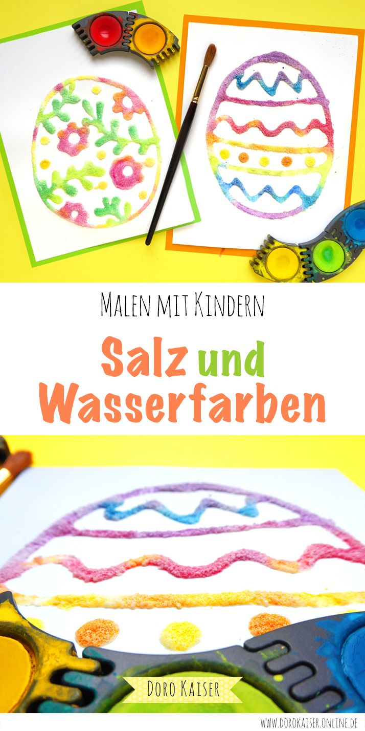 Painting with children: Easter eggs made of salt and watercolors