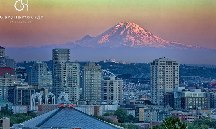 """""""Mt. Rainier Looks over Seattle"""" was taken from Kerry Park. Wonderful place from which to view the city.    Photo Credit- Gary HamburghWashington Places, Kerry Parks, Seattle Area, Wonder Places, The Cities, Rainier, View, Wonderful Places"""