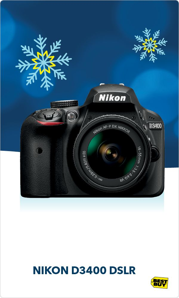 Some of the best memories happen fast or in low light. The Nikon D3400 excels where smartphones falter. The 24.2 Megapixel camera captures HD images and 1080p HD video and uses 11-point autofocus to track and lock onto your subject. And you can share your photos in a flash thanks to Snapbridge connectivity that automatically sends photos to your smartphone or tablet as soon as you take them. Visit the Camera Experience Shop at Best Buy today and bring on the holiday memories.
