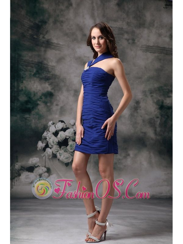 Simple Blue Column Asymmetrical Cocktail Dress Mini-length Chiffon- $98.29  http://www.fashionos.com   ruched prom dress   one of a kind dancing prom dress   by color dama dress   unique handmade club dress   the only place to get cocktail dress   where can i find unique prom dresses   choir dress amazing   for less bridesmaid dress   creator bridesmaid dress   maid of honor dresses online  