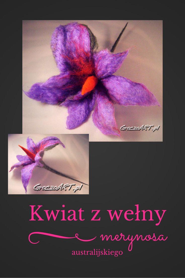 Kwiat filcowany ręcznie z wełny merynosa australijskiego techniką na mokro. Może służyć jako broszka lub wystrój wnętrza.