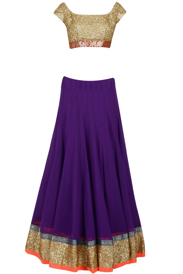 Gold and purple lehenga set with magenta jaal dupatta available only at Pernia's Pop-Up Shop.