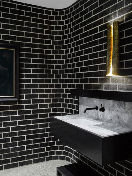Bendigo Residence | Flack Studio; bathroom, black tiles, white grout, curved internal corner detail
