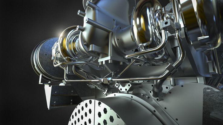 Cat 3512C GenFlex Ship Engine detail rendered in KeyShot for Pon Power Scandinavia.